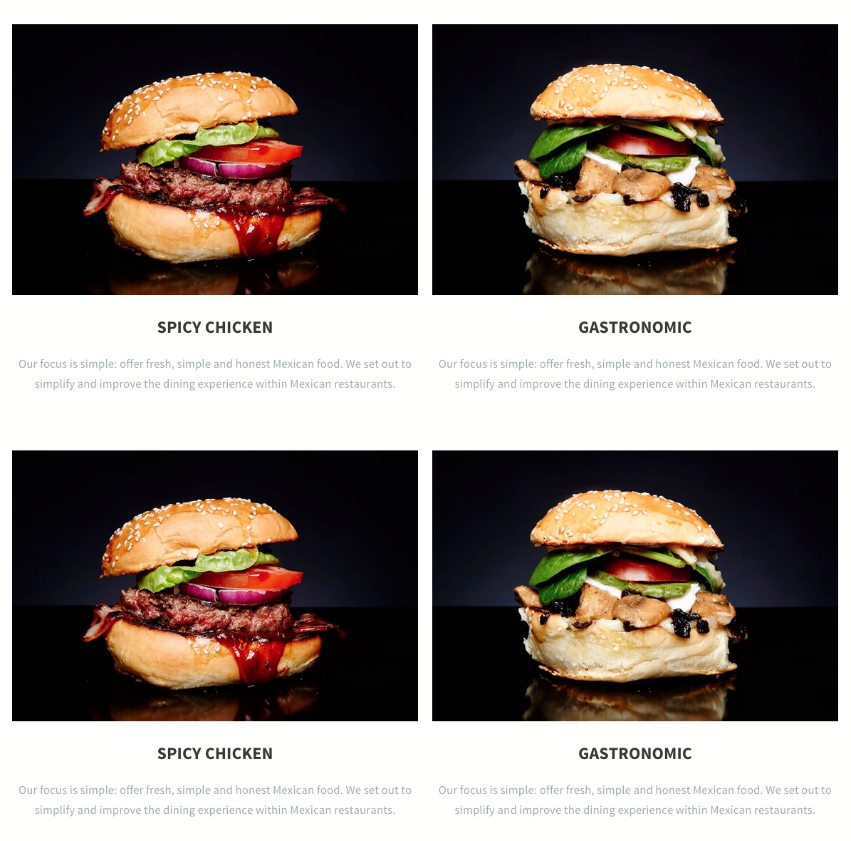 Modern fast food restaurant website from LeadPages