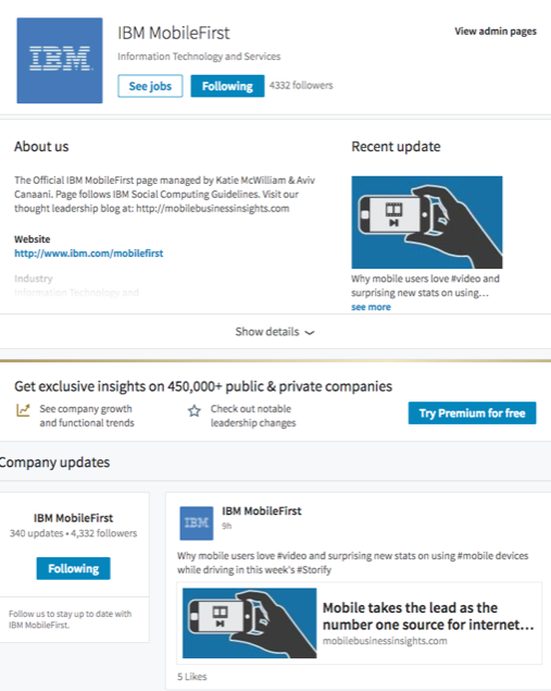 LinkedIn company page redesign