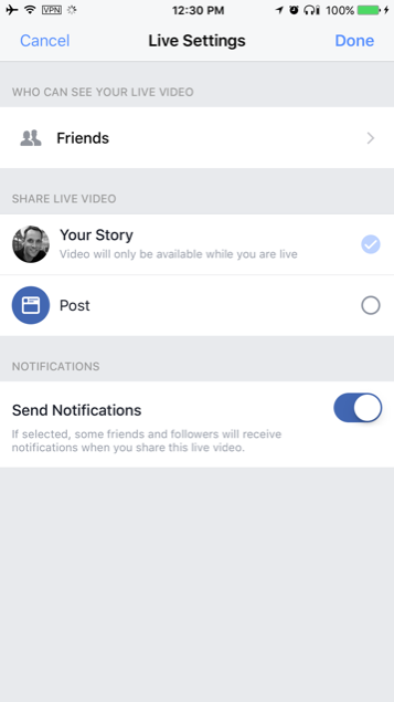 Facebook Live options in Stories