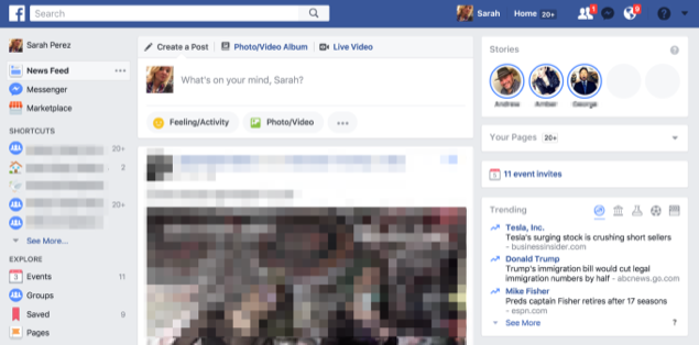 Facebook Stories on desktop