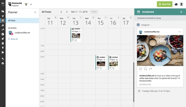 Instagram post scheduling in Hootsuite