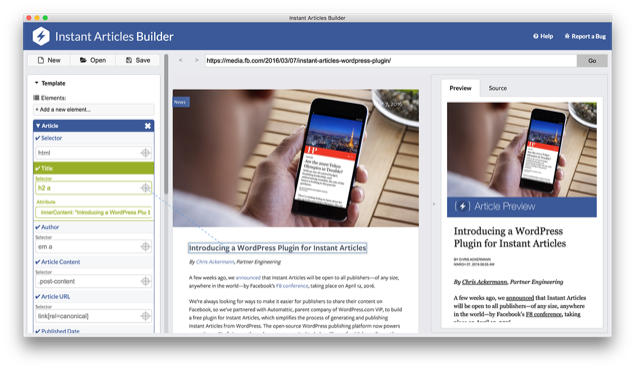 Facebook Instant Articles Builder